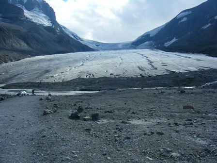The Columbia Icefield glacier - going, going, soon to be gone.