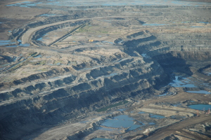 aerial view of Athabasca Oil Sands Strip-Mining